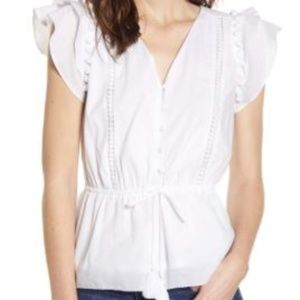 J.Crew Point Sur Flutter Sleeve Pompom Voile Top